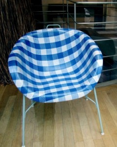 Scout by Bungalow plaid pattern on chair