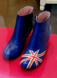 Scout by Bungalow union jack symbol blue and red and white boots