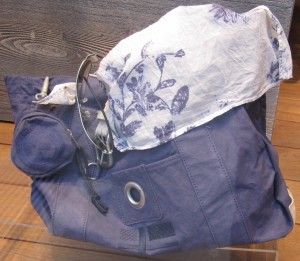 Scout by Bungalow blue utility bag blue and white scarf
