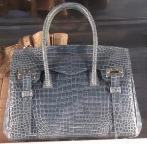 Scout by Bungalow blue crocodile pattern bag