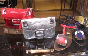 Scout by Bungalow silver bag red purse blue sandal