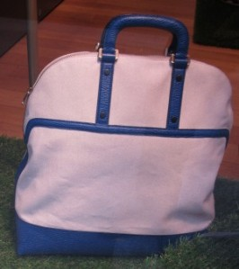 scout by bungalow bally blue and white tote