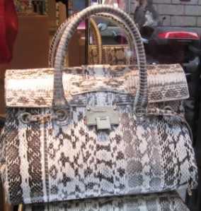 scout by bungalow grey and white snakeskin bag