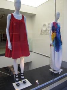 trapeze-shape red dress