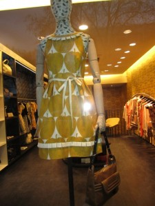 yellow and white shift dress with apple print
