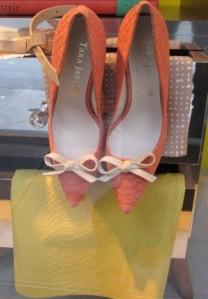 Scout by Bungalow orange mules heels lemon yellow snakeskin