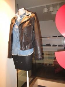 denim shirt black sequined skirt