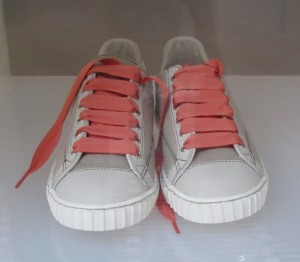 Scout by Bungalow khaki sneakers coral orange laces