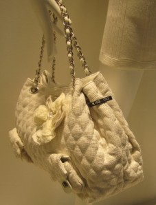 Scout by Bungalow quilted floral tote bag creme white ivory