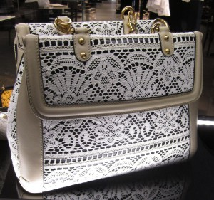 scout by bungalow white lace on beige bag