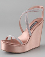 swarovski crystal straps on a metallic pink platform