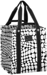 scout by bungalow bagette bag black and white croc pattern