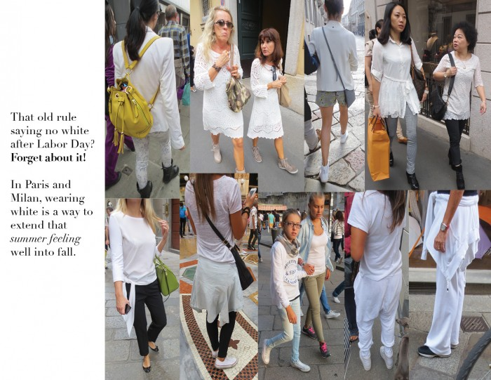 That old rule saying no white after Labor Day? Forget about it! In Paris and Milan, wearing white is a way to extend that summer feeling well into fall.
